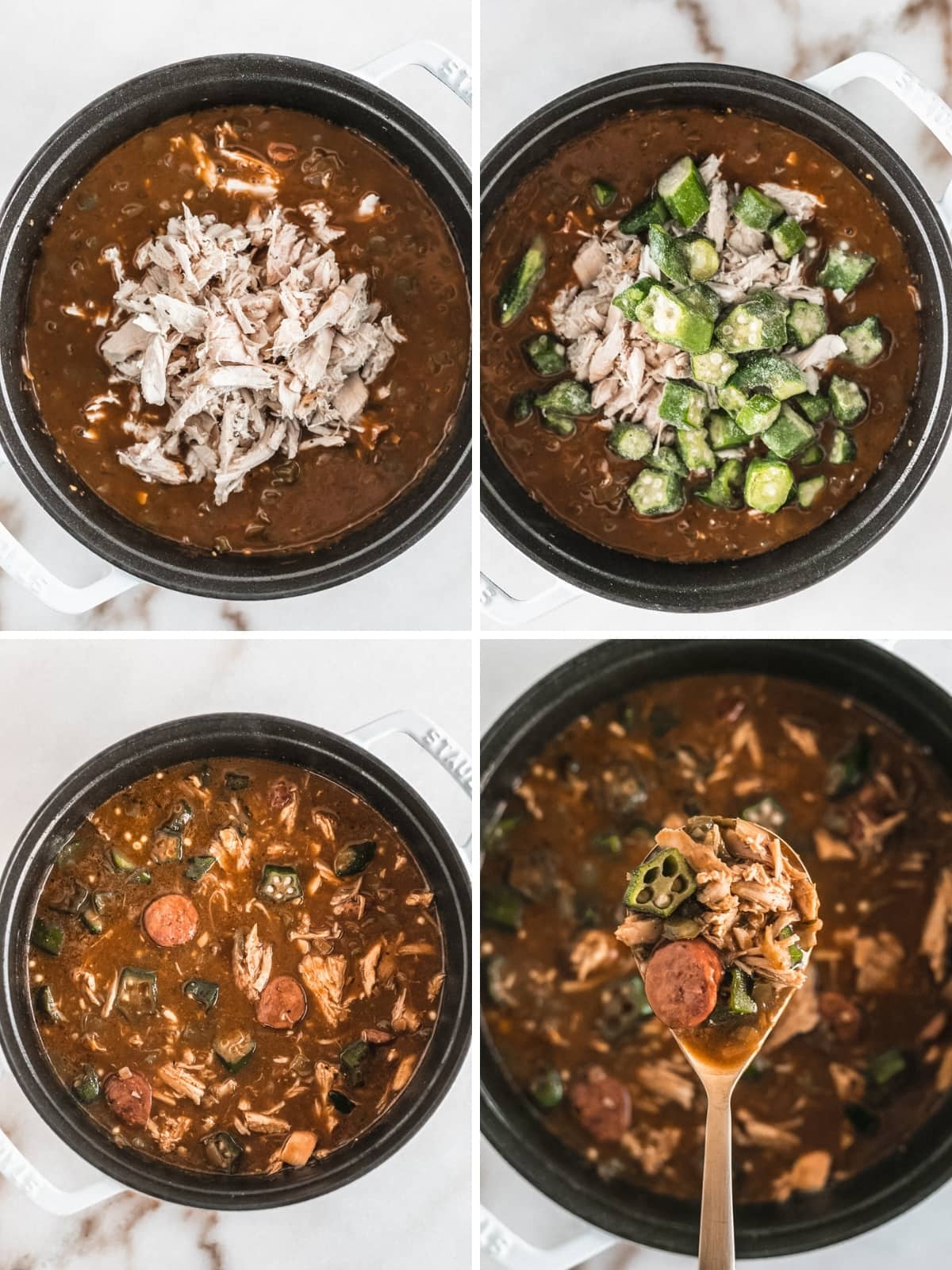 collage image showing steps to making turkey gumbo.