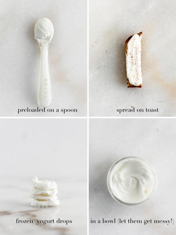 collage image showing 4 different ways ti serve yogurt to babies.