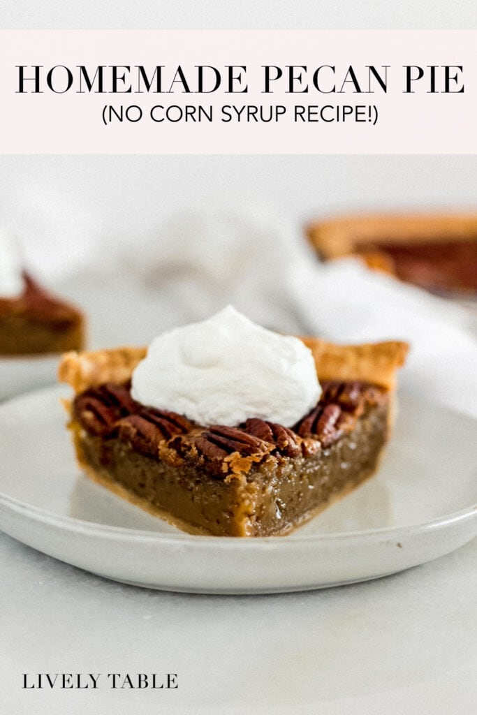 pinterest image with text for pecan pie without corn syrup.