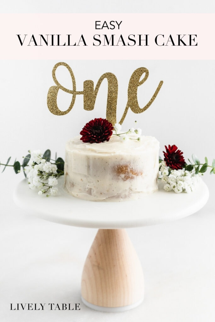Pinterest image with text for homemade smash cake.