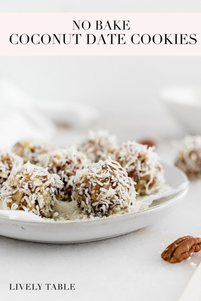 Pinterest image with text for no bake coconut date cookies.