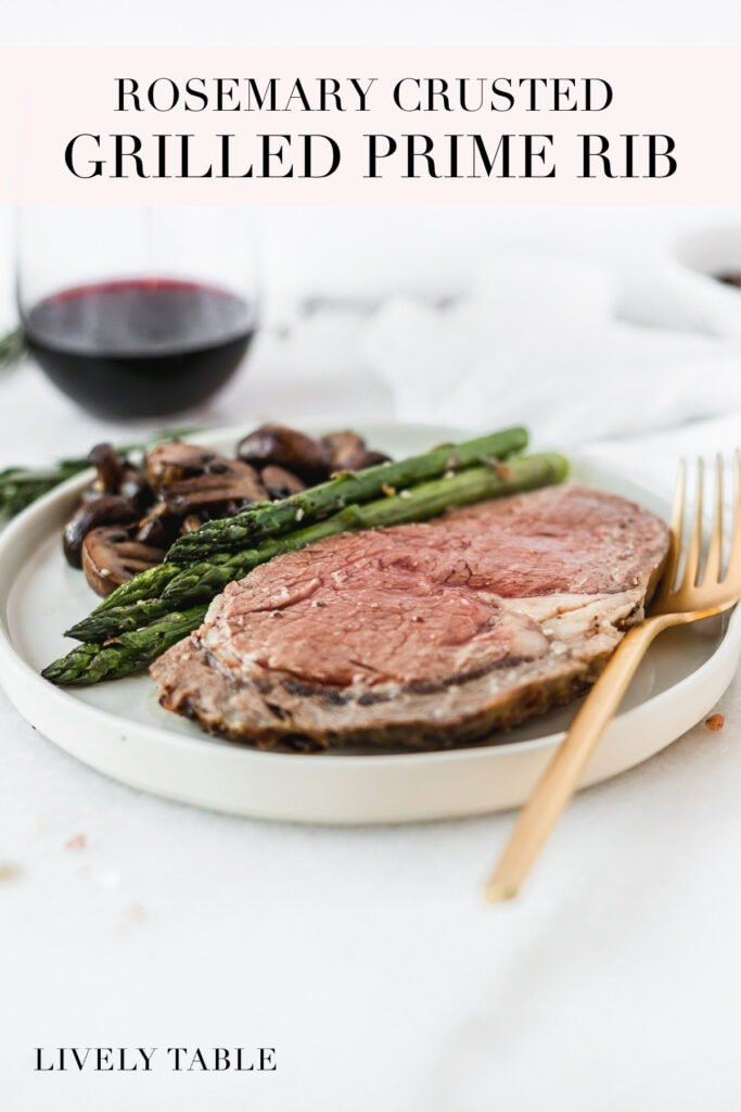 pinterest image with text for rosemary crusted grilled rib roast.