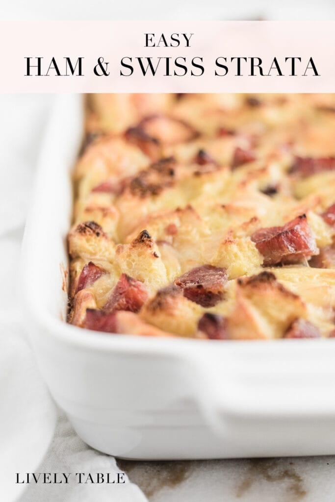 pinterest image with text for ham and swiss strata.