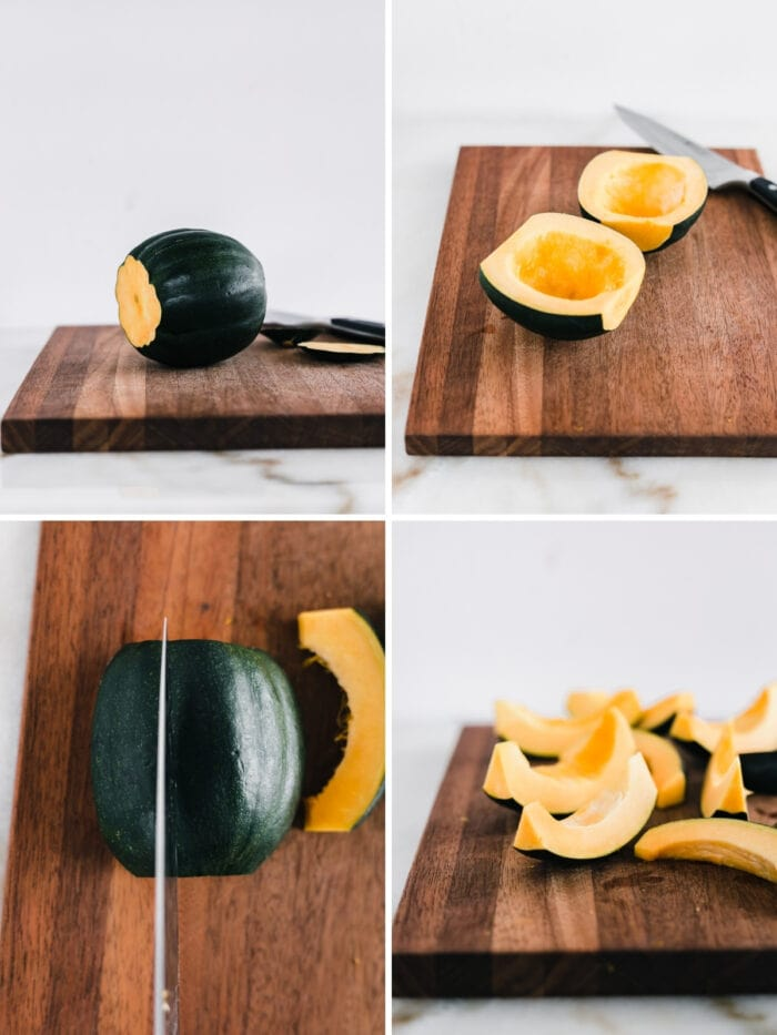 four image collage showing steps for cutting an acorn squash into wedges.