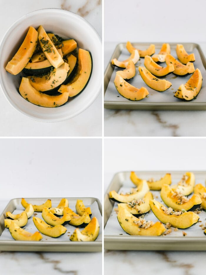 four image collage showing steps for making maple rosemary roasted acorn squash.