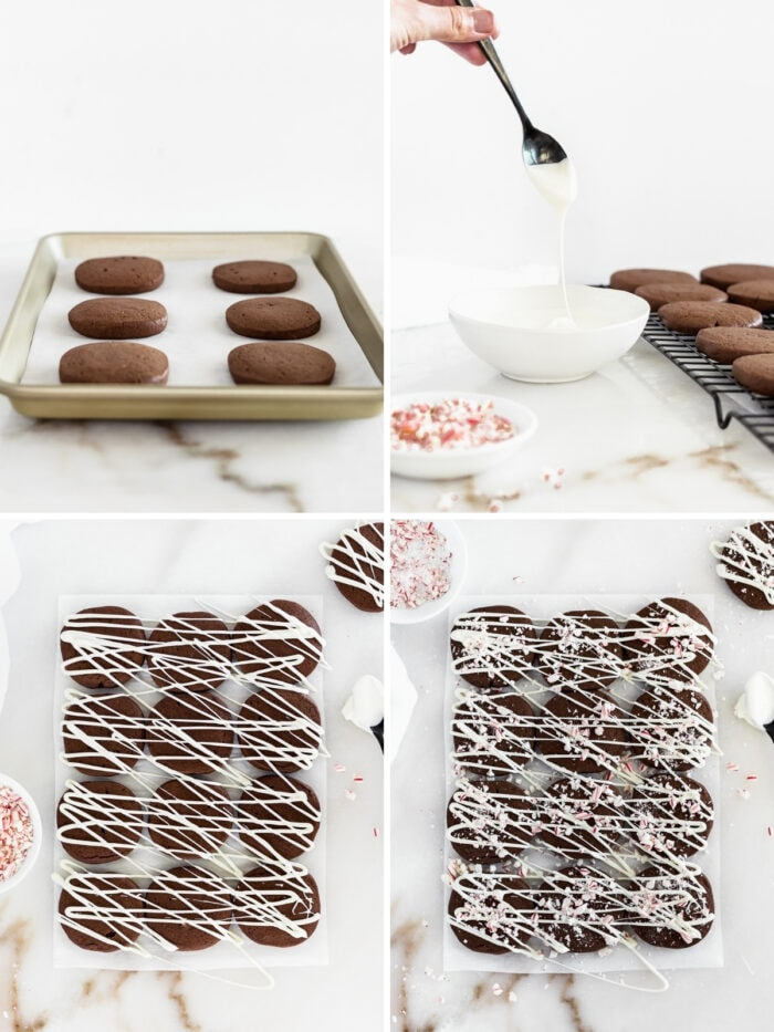 four image collage showing steps to topping chocolate icebox cookies with white chocolate and peppermint.