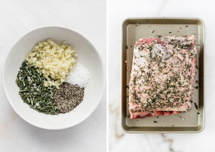 side by side images of garlic, rosemary, salt and pepper in a white bowl, and a rib roast rubbed with the seasoning.