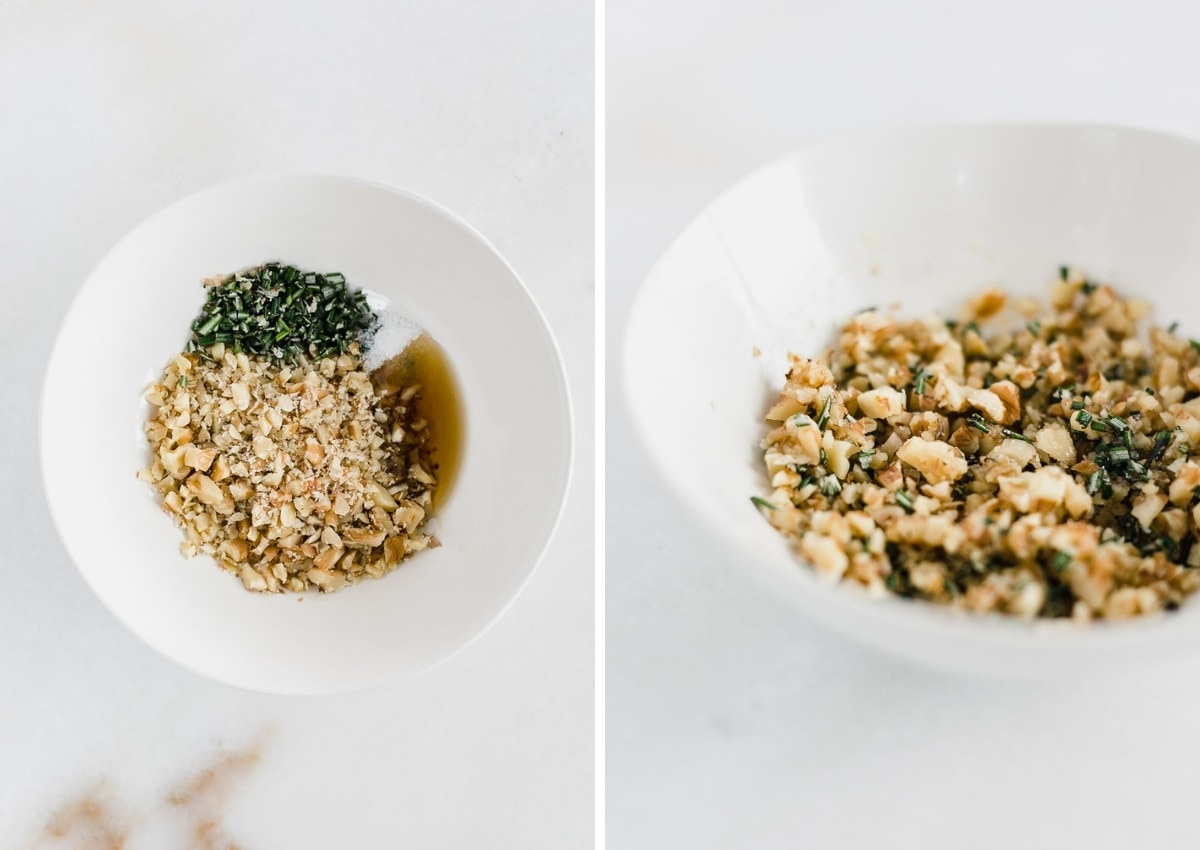 side by side images showing finely chopped walnuts in a small white bowl with rosemary, salt and maple syrup, and a closeup of the ingredients mixed together.