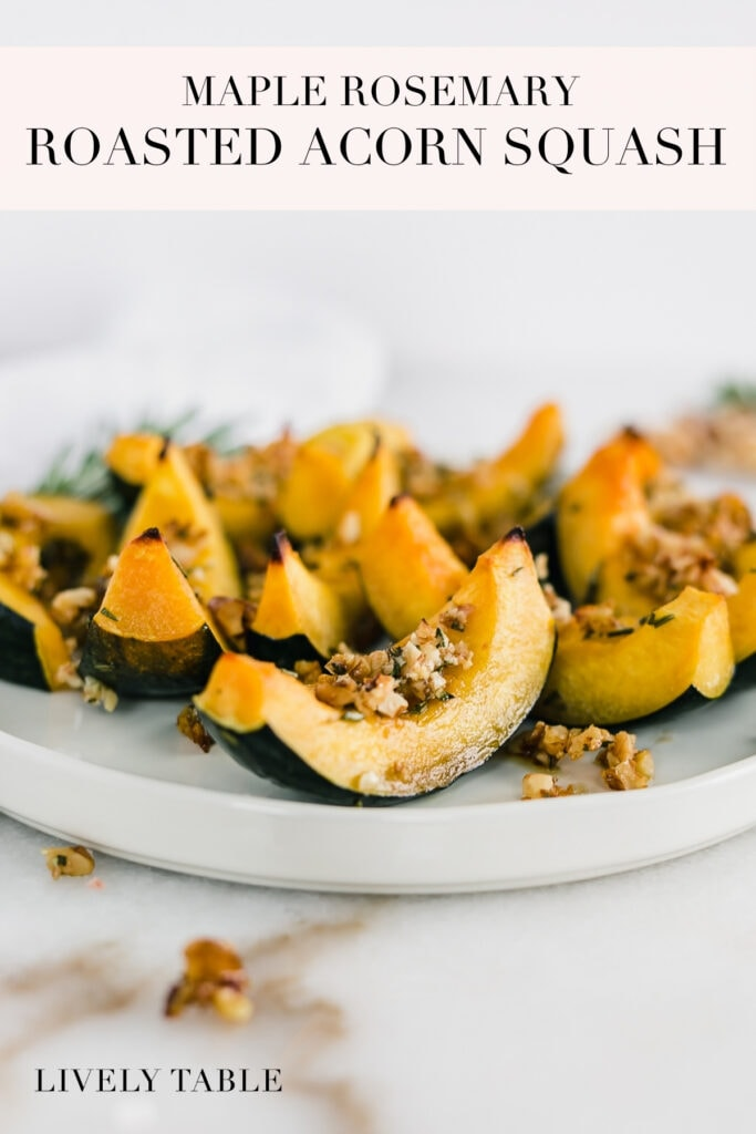 pinterest image with text for maple rosemary roasted acorn squash.
