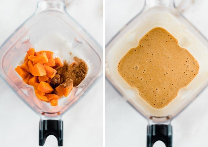 side by side images of ingredients for a gingerbread smoothie in a blender, and the blended smoothie in the blender.