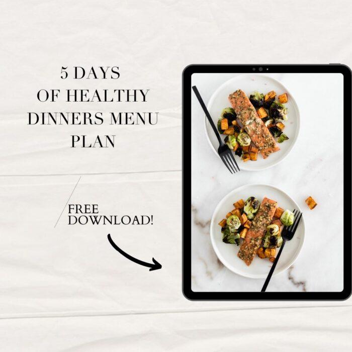menu plan ebook on an ipad with text.