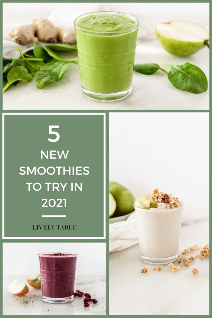 collage image with text overlay for 5 new smoothies to try in 2021.