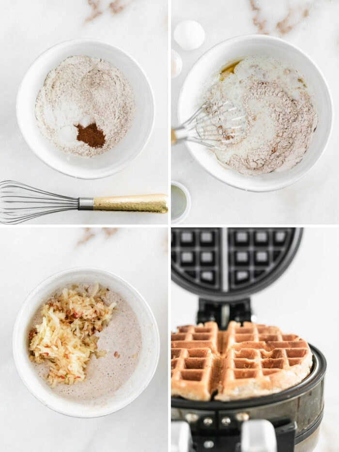 collage showing four steps to making caramel apple waffles.
