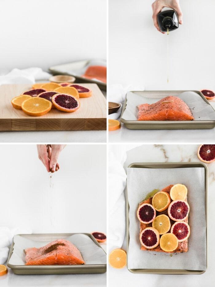 four image collage showing steps to making chili blood orange salmon.
