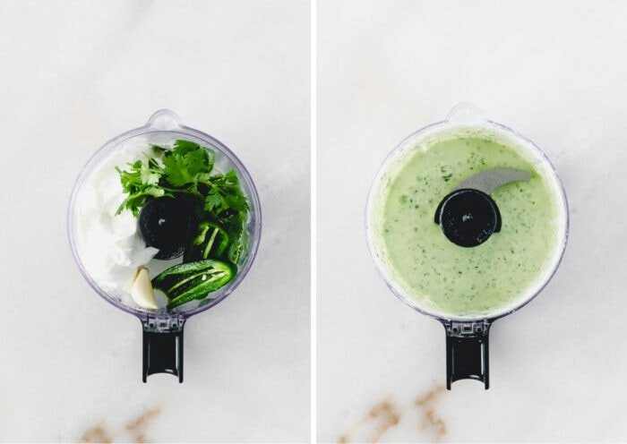 collage of two overhead views of a food processor with jalapeno dressing ingredients whole and then blended.