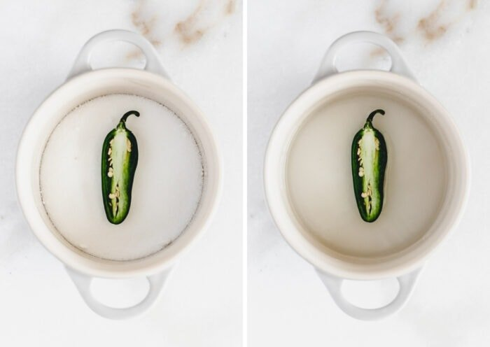 side by side images of a jalapeno and sugar in a pot, and the finished simple syrup in the pot.