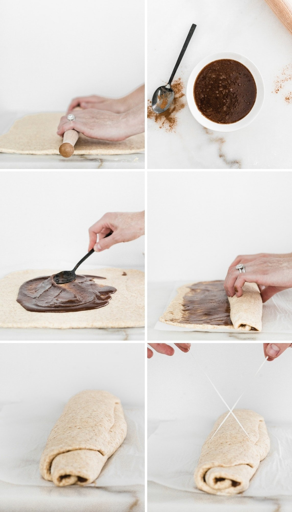 collage showing steps to rolling out and filling cinnamon roll dough.