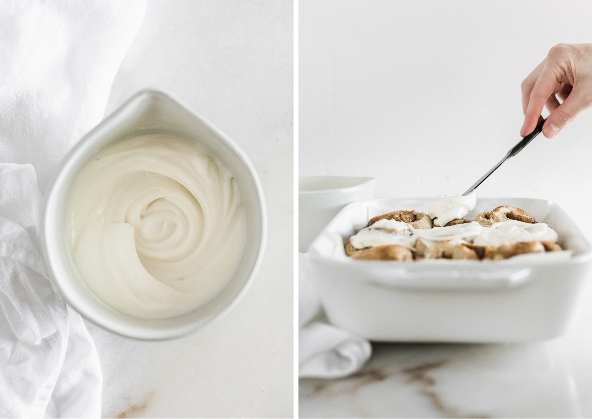 collage showing an overhead view of cinnamon roll frosting in a bowl and a hand frosting baked cinnamon rolls.