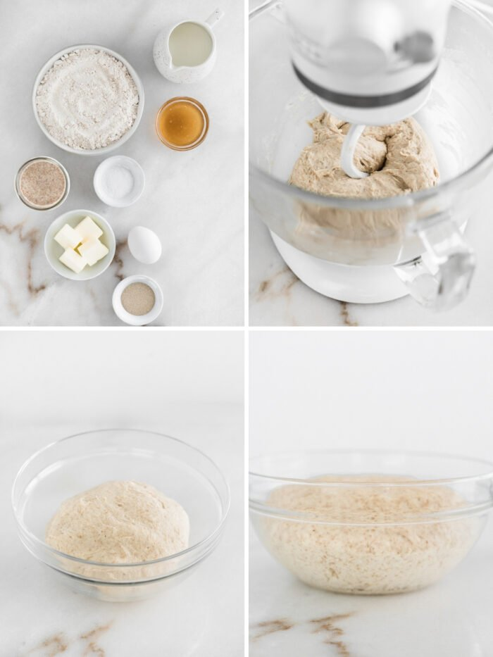 collage showing steps to making sourdough discard cinnamon roll dough.
