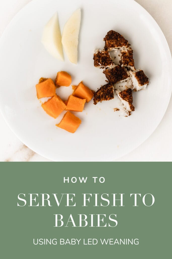 pinterest image with text for how to serve fish to babies.