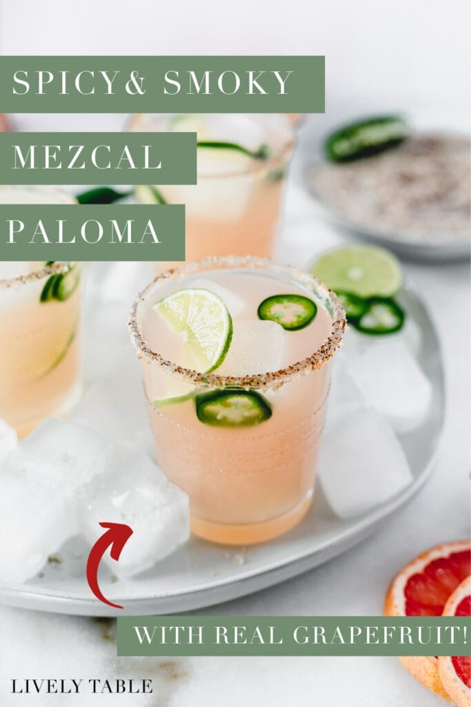 pinterest image with text for spicy and smoky mezcal paloma.