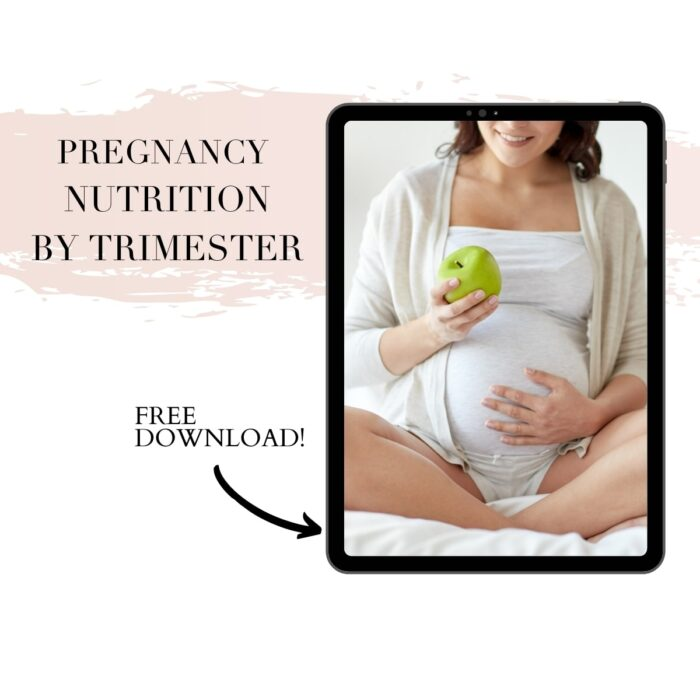 ipad screen of a pregnant woman with text reading pregnancy nutrition by trimester and free download.