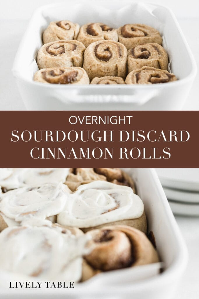 pinterest image with two photos and text overlay for sourdough discard overnight cinnamon rolls.