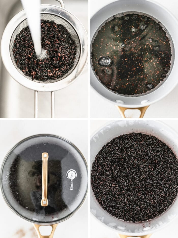 collage showing four steps for making black rice on the stovetop.