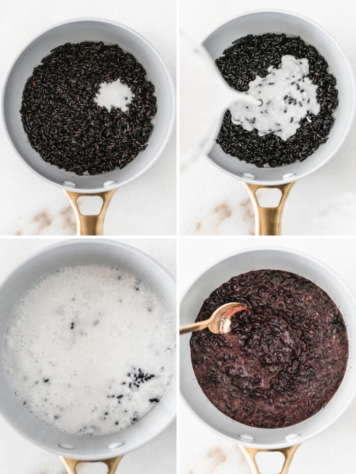 collage showing four steps for making coconut black rice breakfast porridge.