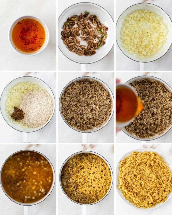 collage showing steps for making jeweled rice in a white saucepan.