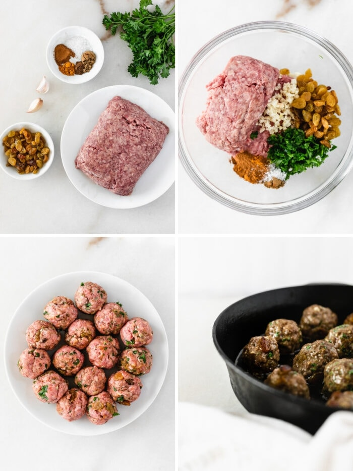 collage showing four steps for making lamb meatballs with raisins.