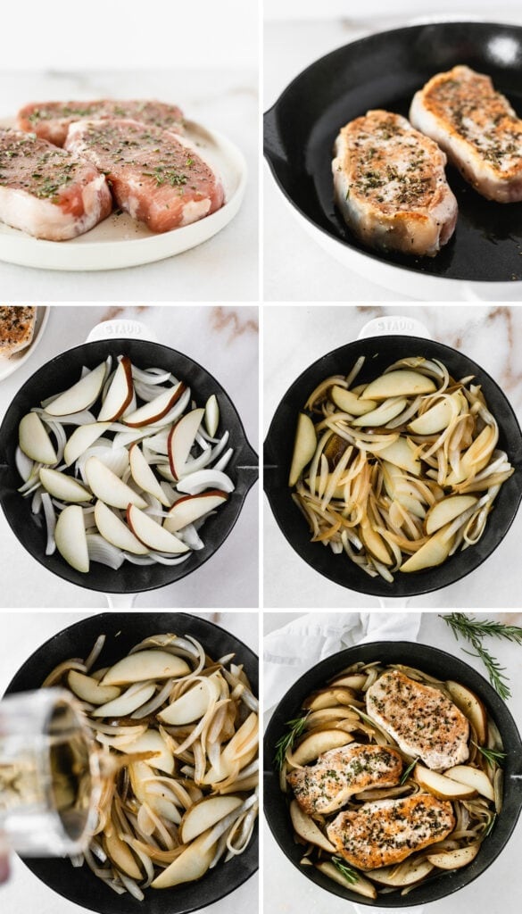 collage showing steps for making pan seared pork chops with pears and bourbon.