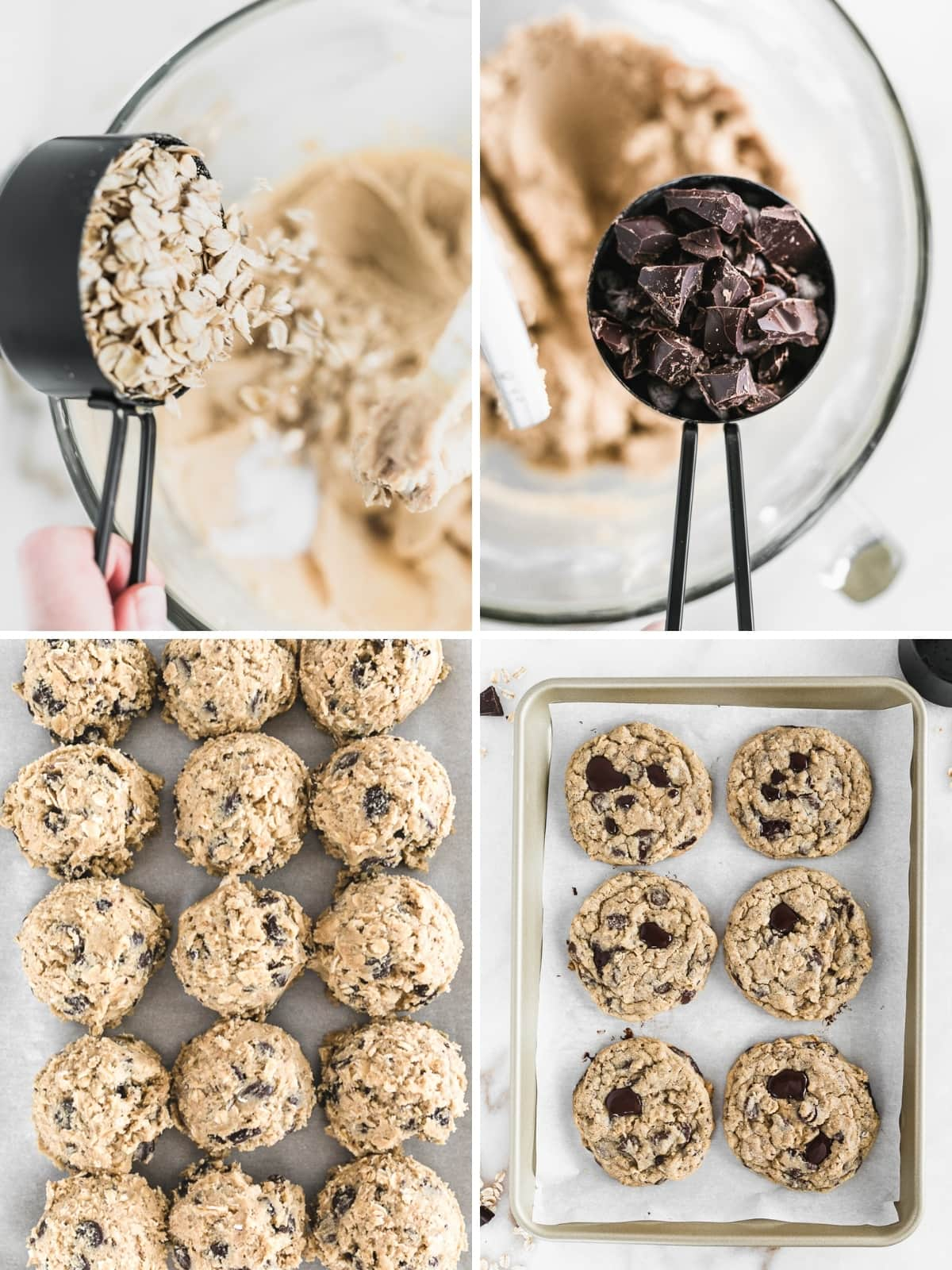 four image collage showing steps for baking oatmeal chocolate chip cookies.
