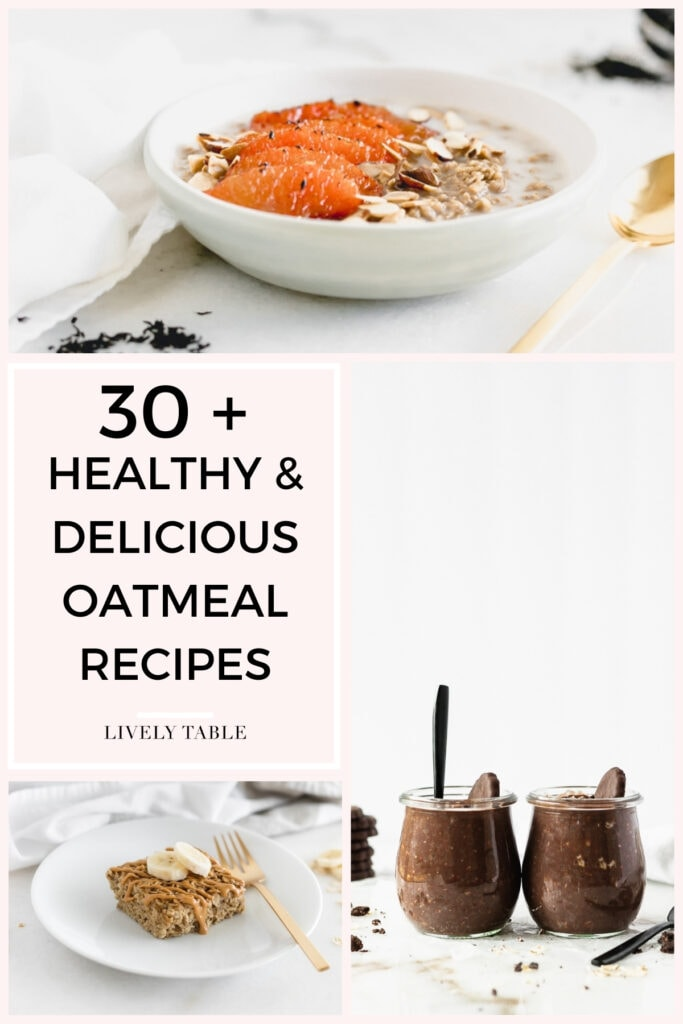 collage of 3 oatmeal recipes on a pink background with text overlay.