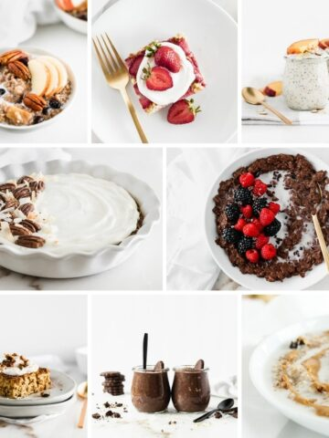 collage of 8 oatmeal recipes.