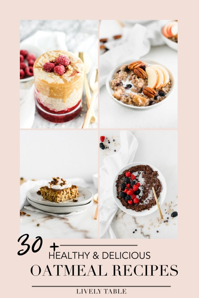 collage of 4 oatmeal recipes on a pink background with text overlay.