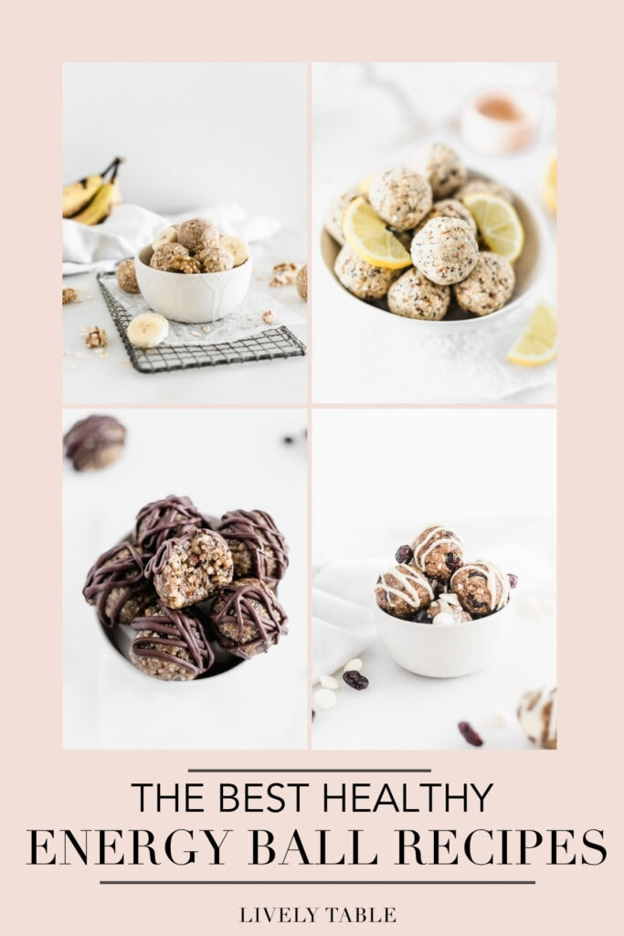 collage of 4 energy balls recipes on a pink background with text overlay.