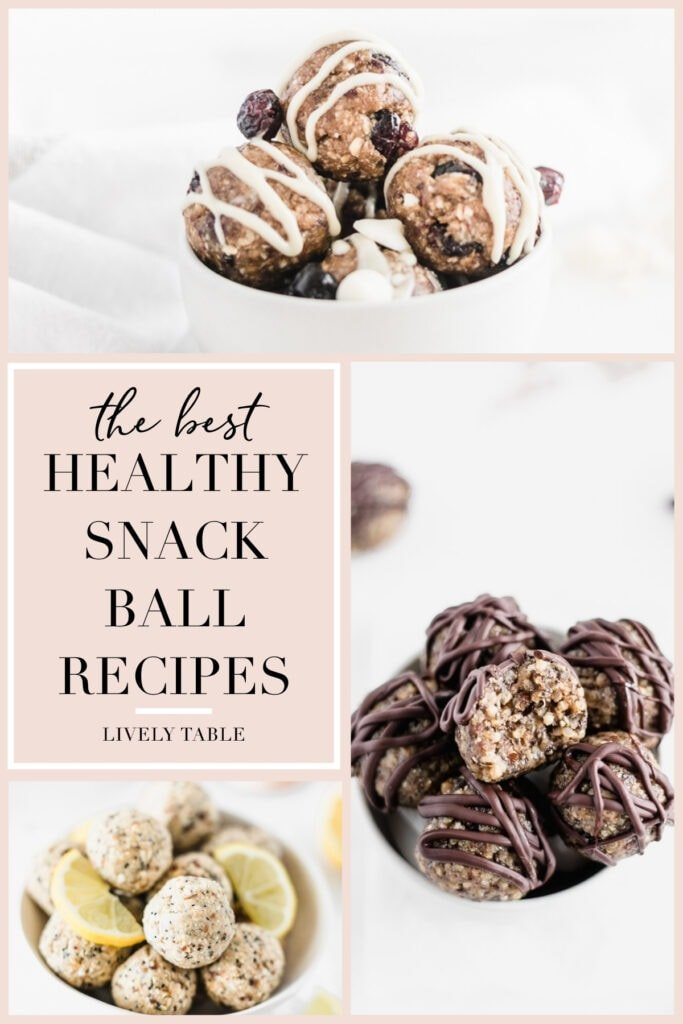collage of 3 energy balls recipes on a pink background with text overlay.