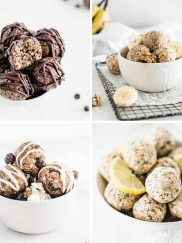 collage of 4 energy balls recipes.