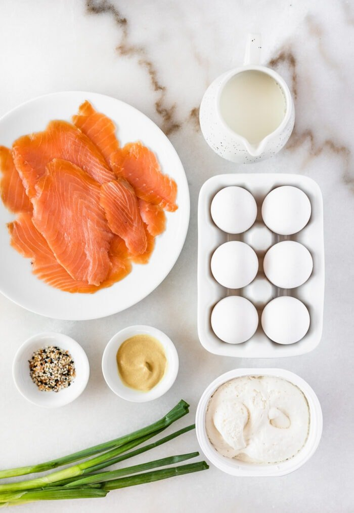 overhead view of ingredients needed to make everything bagel lox frittata.