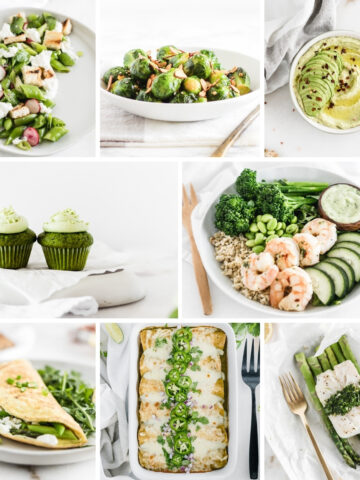 collage of 8 green recipe images.