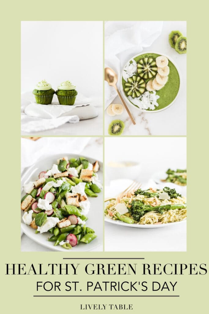 collage image with text overlay with 4 healthy green recipes for St. Patrick's Day.