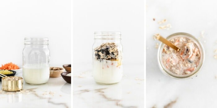 three image collage showing steps for making carrot cake kefir overnight oats in a glass jar.