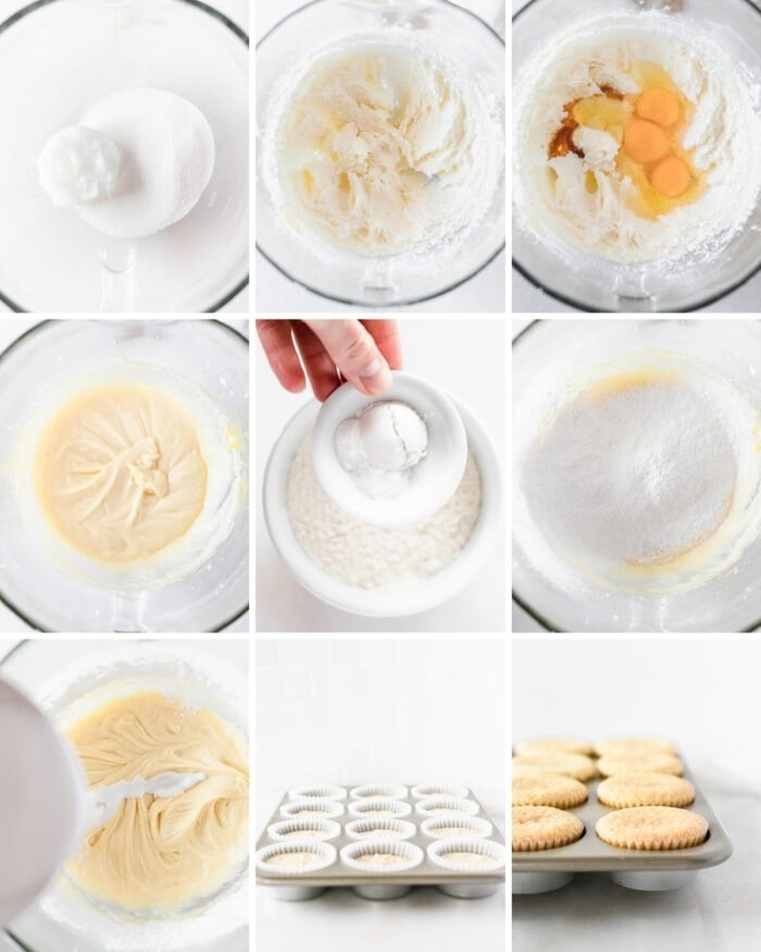 9 image collage showing steps for making coconut cupcakes.