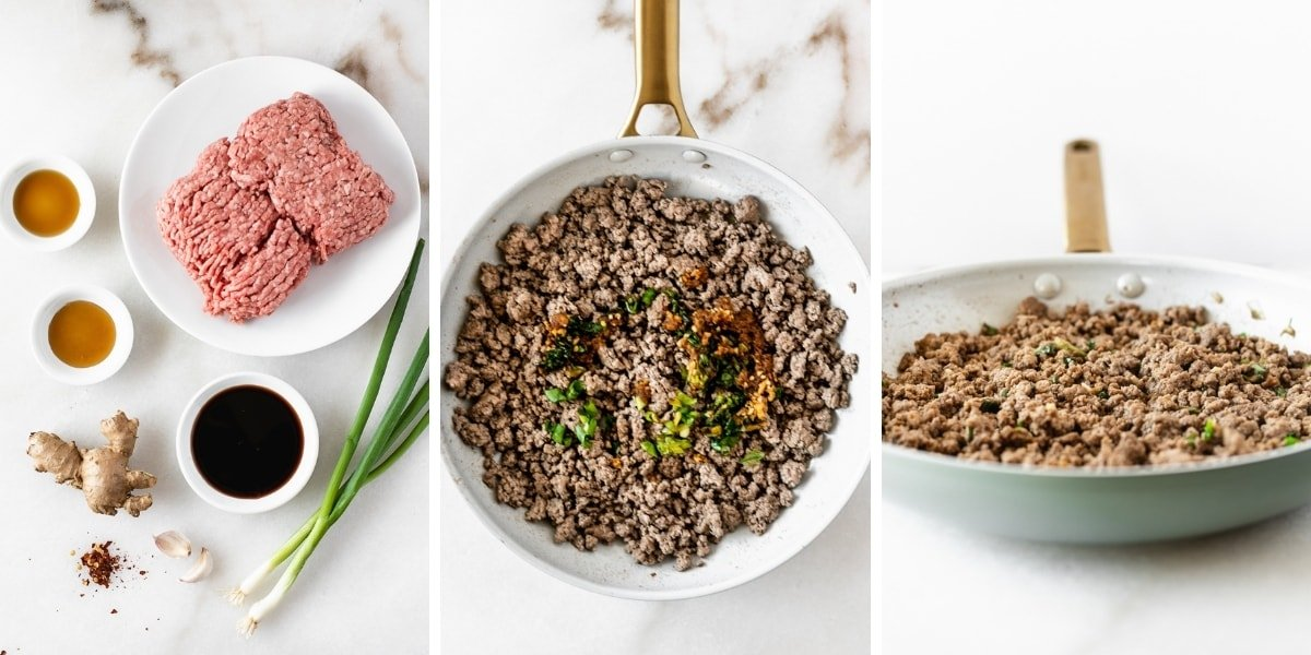 three image collage showing how to make thai ginger ground beef.