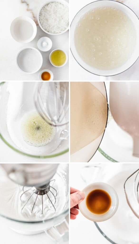 6 image collage showing steps for making 7 minute frosting in a stand mixer.