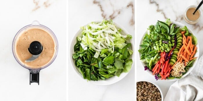 three image collage showing how to make peanut dressing, three lettuces in a bowl and thai peanut salad in a bowl.