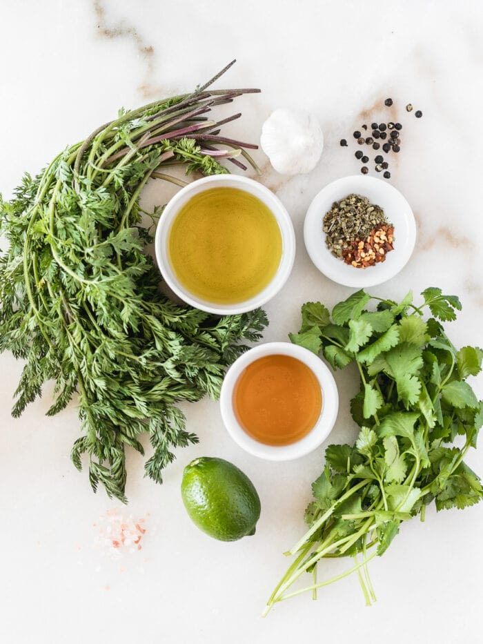 overhead view of ingredients needed for carrot top chimichurri.