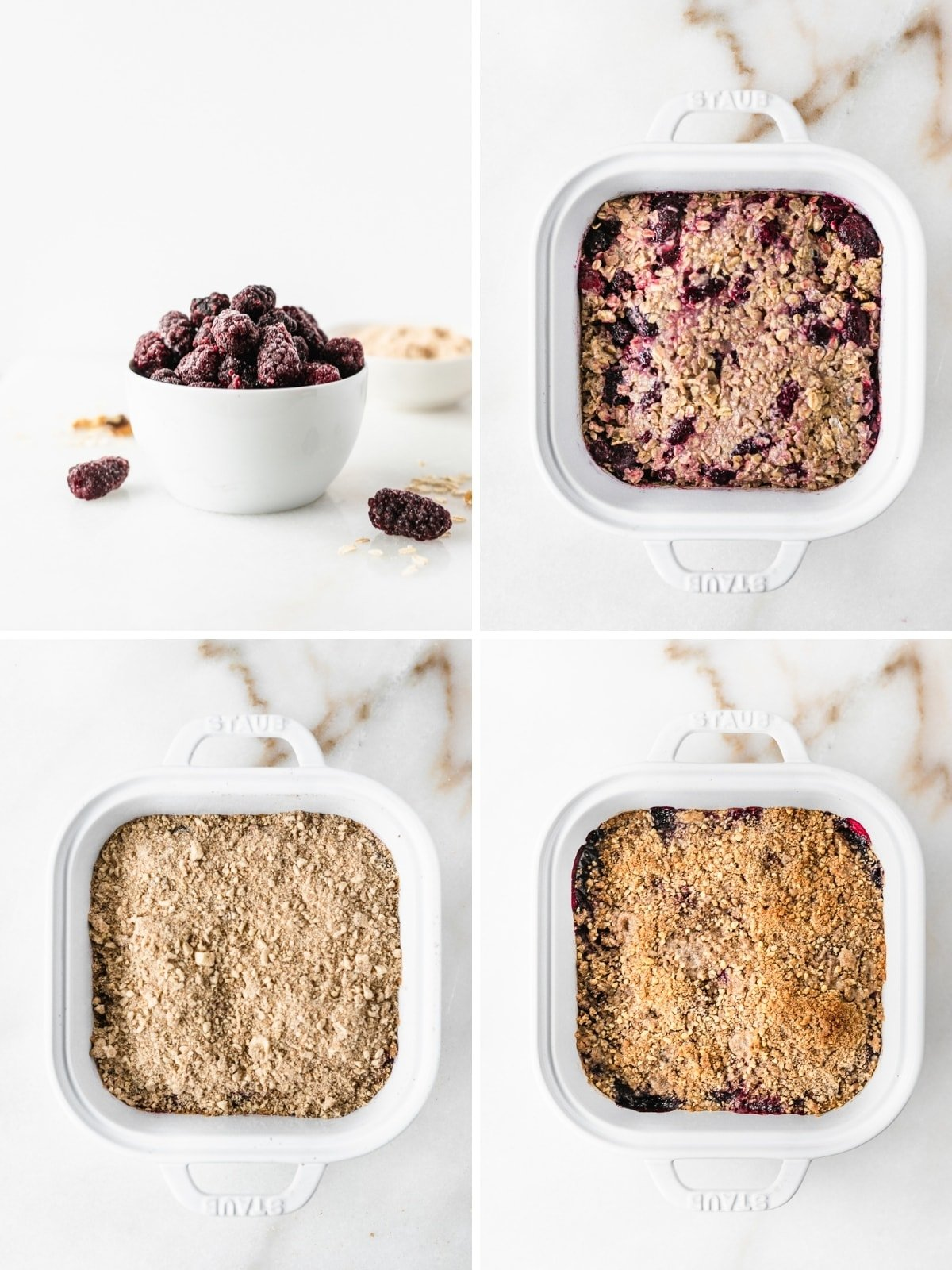 four image collage showing final steps for making blackberry crumble baked oatmeal.