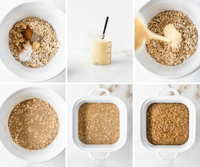 6 image collage showing steps for making the oatmeal base for blackberry crumble baked oatmeal.